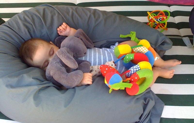 Henry fait sa sieste au bord de la piscine
